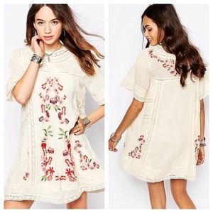 Free People Victorian Floral Embroidered Dress